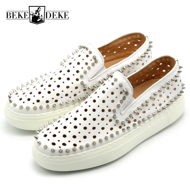 Designer Classic Rivet Slip On Loafers Hollow Out Breathable Real Leather White Flat Shoes Sneakers Men Summer Outdoor Sandals