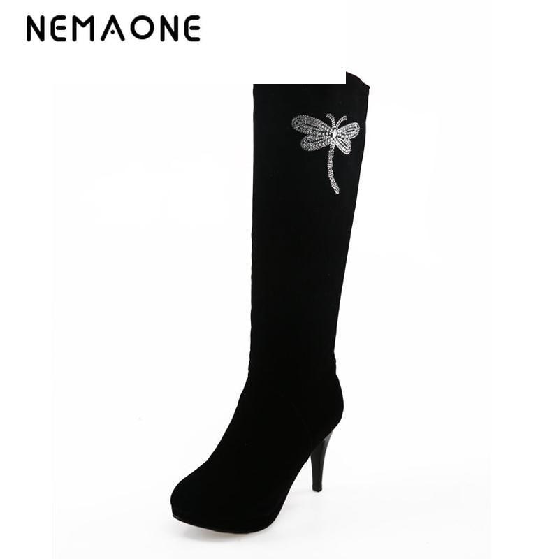 100% Wahr Nemaone Frauen Knie Hohe Stiefel High Heels Stiefel Mode Hochzeit Schuhe Frau Plattform Winter Stiefel Damen Kleid Schuhe