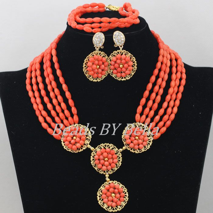 Fashion African Coral Beads Jewelry Set Orange Nigerian Wedding Necklace Coral Beads Bridal Lace Jewlery Free Shipping ABF498