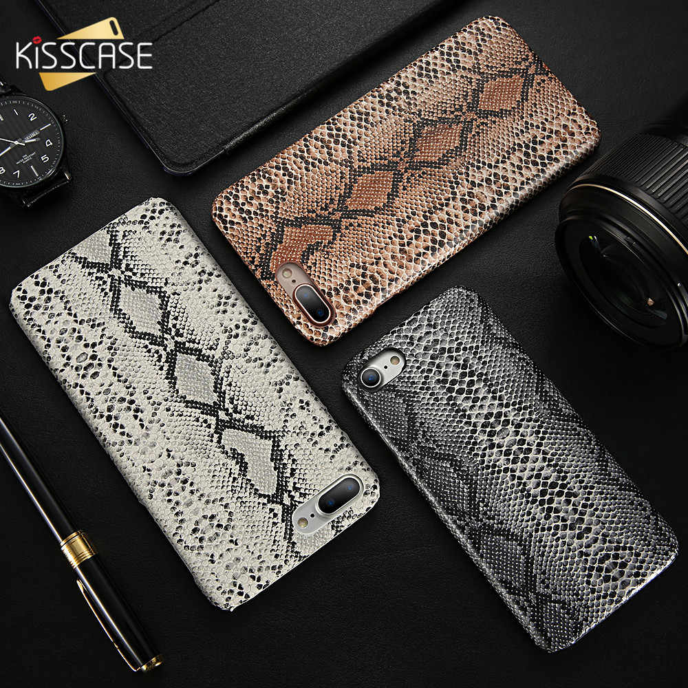 KISSCASE piel de serpiente Sexy para el iPhone 8 7 6 s Plus caso duro PC Phone Bag casos para iPhone 6 6 s Plus X XS MAX 5 5S SE Fundas Coque fundas móvil  para iphone 6 6s plus serpiente casos para fundas