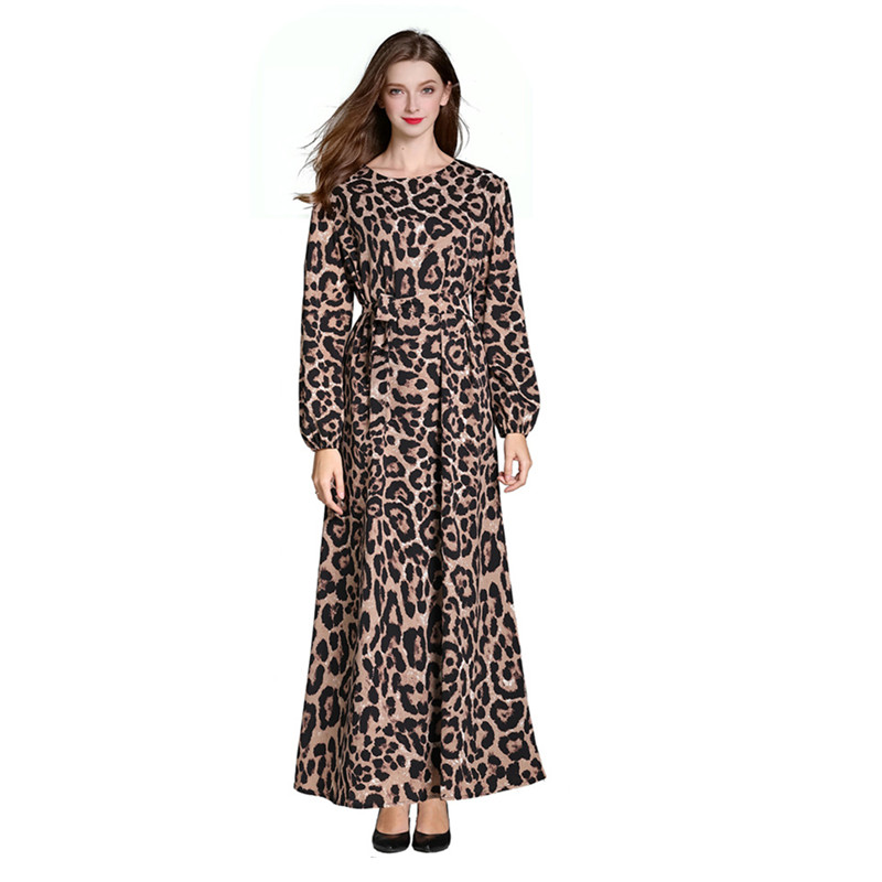 Arab Women Fashion Leopard Dress Women Chiffon Abayas Muslim Long Sleeve Arabic Dubai Turkish Women Clothing