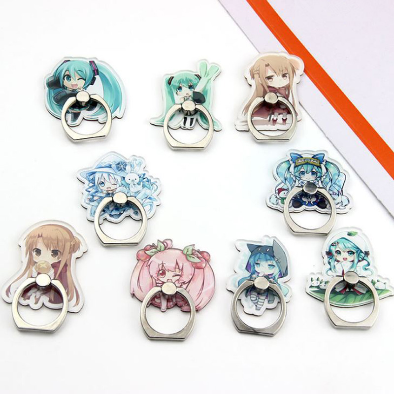 1 Pc Universal Hatsune Miku Phone Holder Stand 360 Degree Acrylic Finger Ring For Phone Mobile Phone Support Figure Toys