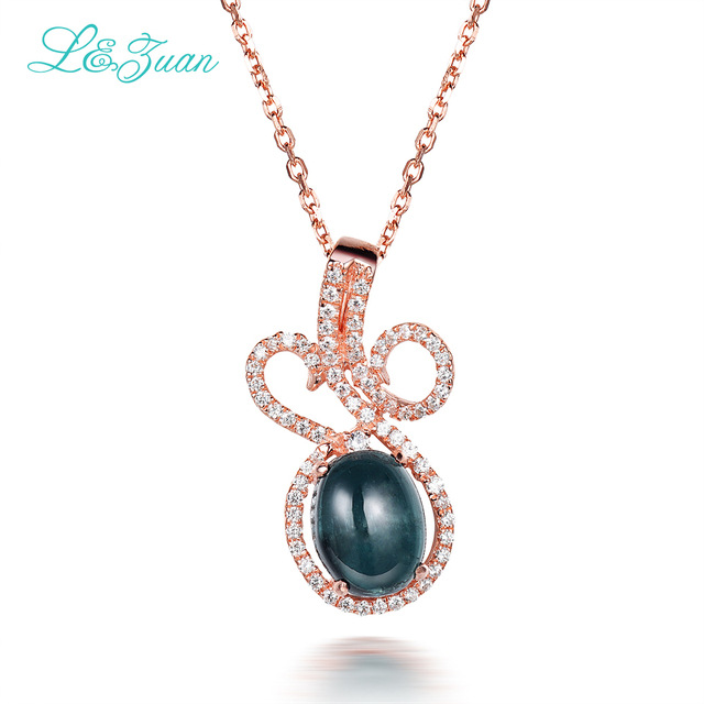 l&zuan 925 Sterling Silver Natural 1.70ct Tourmaline Green Stone Necklace & Pendant For Woman Gift With Silver Chain