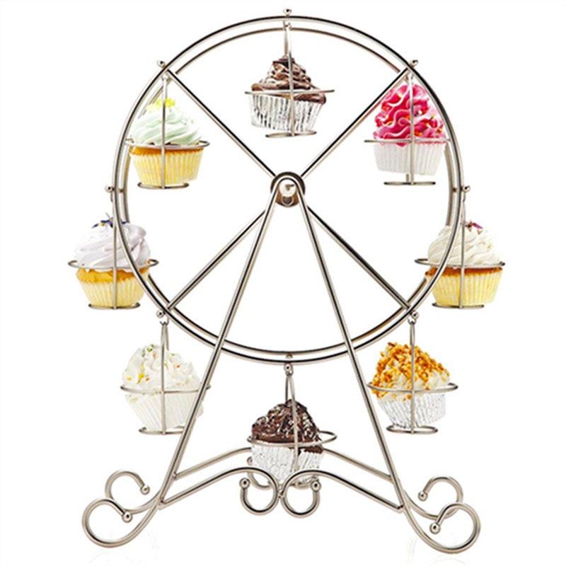 Creative Birthday Wedding Ferris Wheel Shape Rake Dessert Cupcake Rotating Rack Holders J2Y
