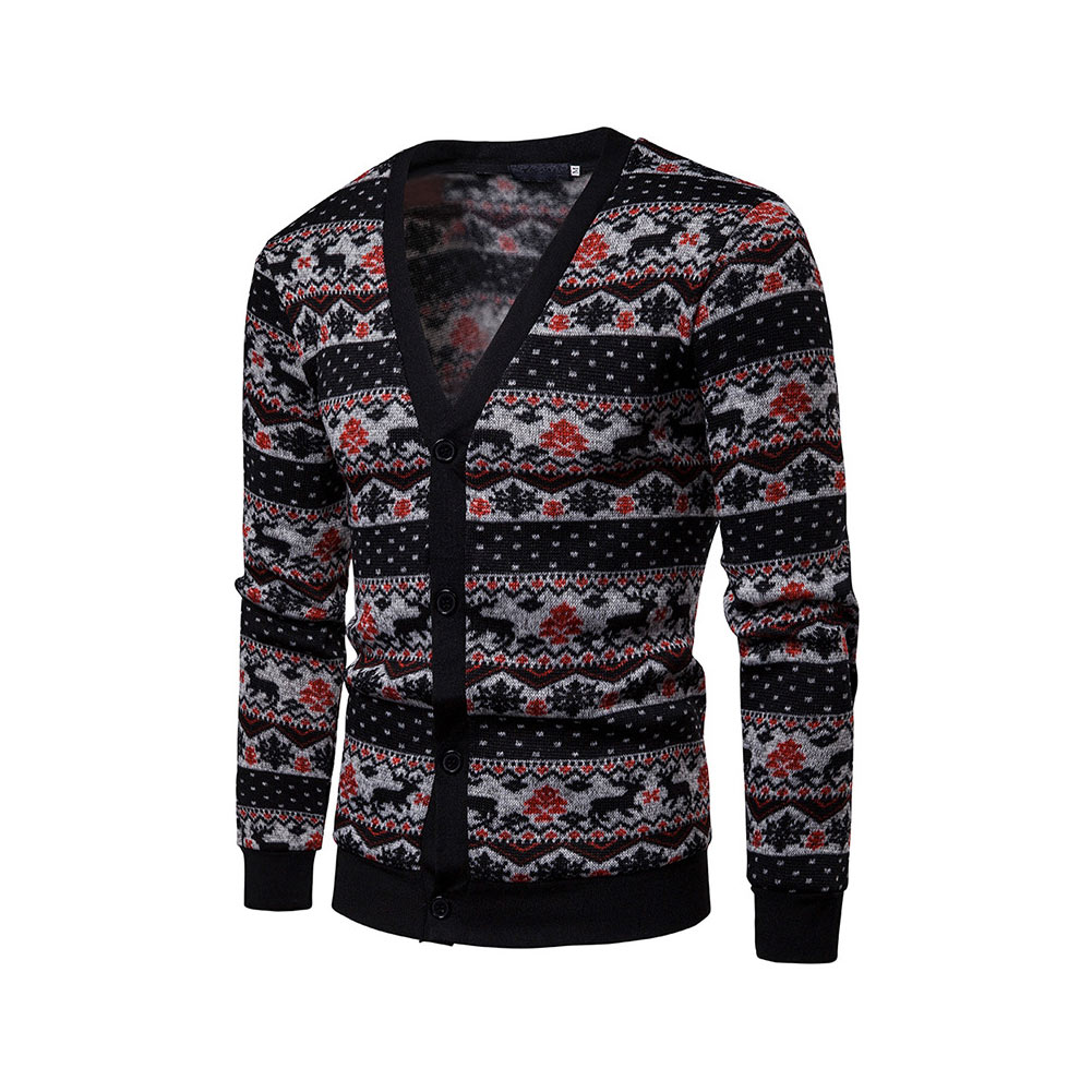 Men Print Long Sleeves Sweaters V-Collar Slim Fit Patchwork Casual Male Tops -MX8