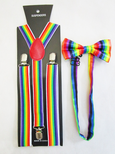 Новая мода 2,5 см Широкий зажим на регулируемые унисекс радужные полосатые подтяжки и лук наборы галстуков для женщин мужские