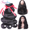 SAPPHIRE Peruvian Body Wave 360 Lace Frontal Closure With Bundle Human Hair 4 Bundles With Closure