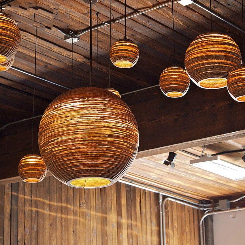 Sud-est asiatique pastorale ver à soie lustre lumières papier Pupa fait café barre suspension lampe Style nordique salle à manger suspension - 2