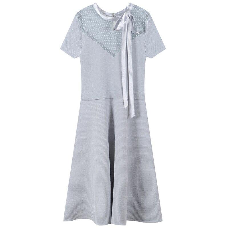 Femmes Robe élégante à lacets arc Mini Robe tricoté Sexy Transparent maille Robe été piste dos fendu pulls Vestidos mignon