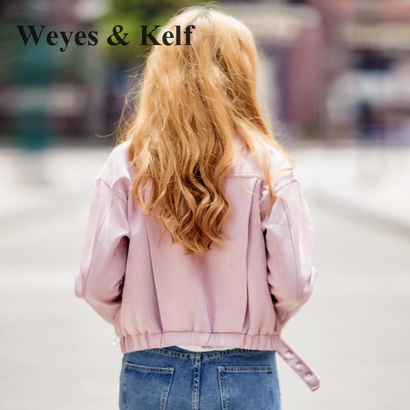 Weyes & Kelf Roze Dames Jas Rits Korte Suede Jasje Vrouwen