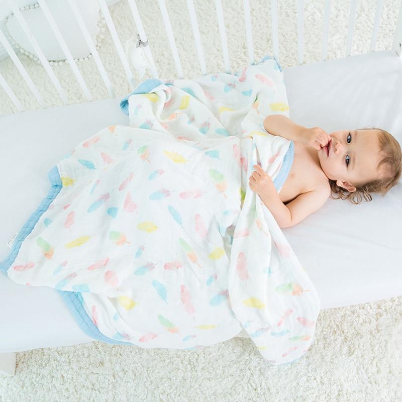 """Multifunktionelle 4 lag Baby Bambus Tæppe Sengetøj Nyfødt Wrap Spædbarn Sengetøj Quilt Cover Kids Rejse Bad Håndklæde Størrelse 47 * 47 """""""