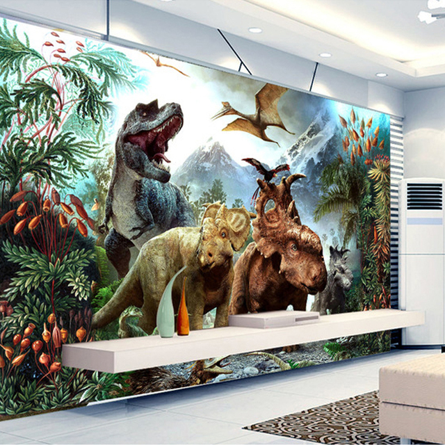 custom 3d poster photo wallpaper 3d cartoon dinosaur non woven mural living room bedroom. Black Bedroom Furniture Sets. Home Design Ideas