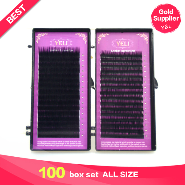 UPS 100 Set Mink False Fake Long Thick Eyelashes Eye Lashes Of Natural Hair Handmade Black Individual Eyelash Lash Extension Lot