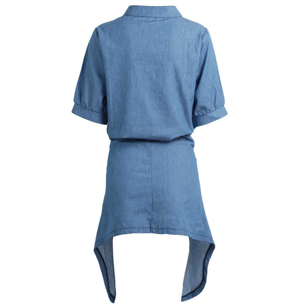 Летние Для женщин платье из джинсовой ткани однотонные сзади длинное-спереди короткое подол галстук-бабочка, рубашка с галстуком-бабочкой платье Открытое платье без рукавов с коротким рукавом Повседневное Платья для вечеринок Vestidos