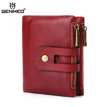 GENMEO New Genuine Leather Wallet Men Cow Leather Purse with Card Holder Short Clutch Bag with Zipper Coin Purse Bolsa Feminina недорого