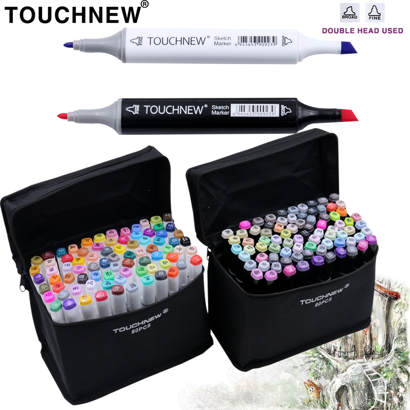 TOUCHNEW 30/40/60/80 Colors Marker Art Set Alcohol Based Manga Brush Drawing Professional Sketch Markers Pen Art Supplies touchnew 30 40 60 80 168 colors artist dual headed marker set manga design school drawing sketch markers pen art supplies