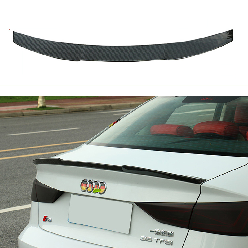 A3 S3 8V Carbon Fiber Rear Trunk Lip Spoiler Wing For Audi A3 S3 8V Sedan 2014-2015 V Style a3 s3 carbon fiber replace style side rear mirror cover trims for audi a3 s3 2014 2015 2016 with side assist
