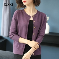 XJXKS Young Women Sweater Cardigan 2019 Spring New Modis Soft Cardigan Women Knitted Button Comfortable Large Size Cardigans