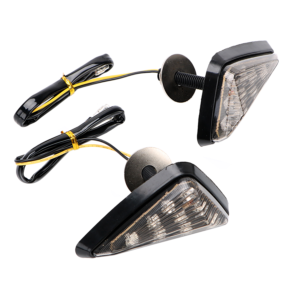 1 Pair Triangle Moto Turn Signal Lamps Piranha Light Motorcycle Flasher 9 LED Turn Light Motorbike Indicators Blinker