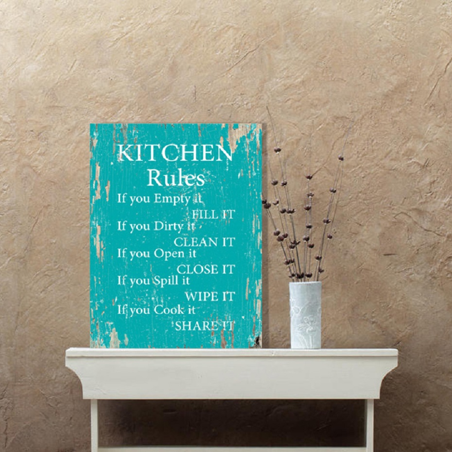 Vintage Kitchen Rules Wall Art Canvas Paintings DIY Photo Framed Prints Posters Pictures Frame Dining Room Home Decoration  (1)