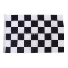Black White Chequered Formula One F1 Racing Banner Hand Waving Flag 12Pcs