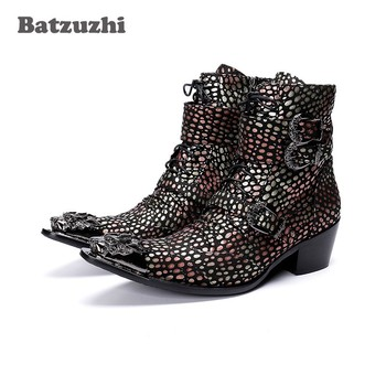 Batzuzhi Handmade Western Cowboy Boots Men Pointed Iron Toe Color Leather Motorcycle Boots Men Botas Hombre 6.5cm Heels Buckles