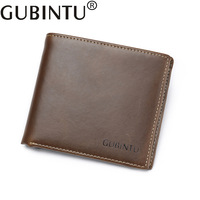 GUBINTU Genuine Leather Purse Open Vintage Short Wallet Cow Leather Purse Multifunction Men Wallet Crazy Horse