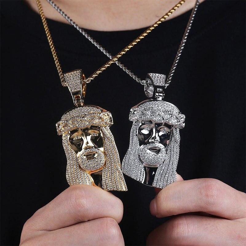 Nouveau produit 2019 Ice out jésus corolle pendentif bijoux hip hop mode CZ collier en pierre pour hommes femmes cadeau bijoux JUNLU