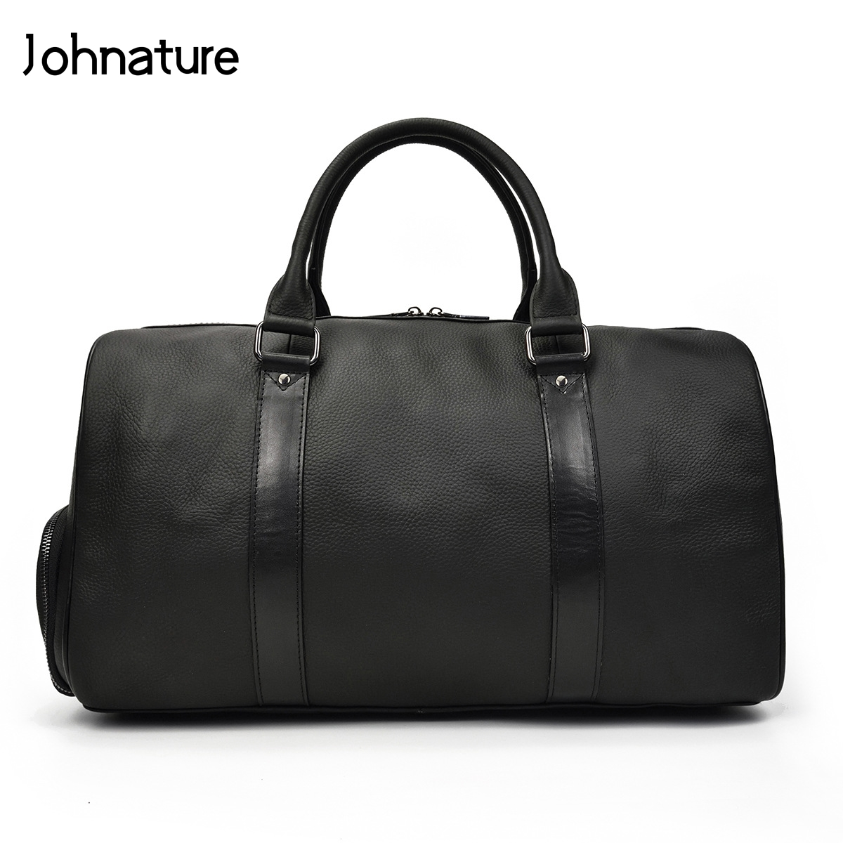 Genuine Leather Men Travel Bags Vintage Solid Litchi Pattern Large Capacity Mens Duffle Bag Hand Luggage