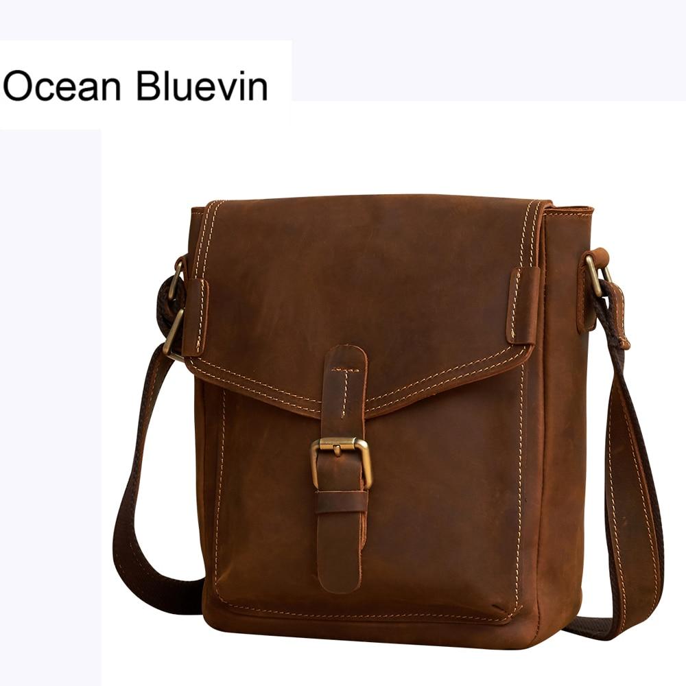 OCEAN BLUEVIN New Hot Genuine Leather Men Shoulder Bags Male Small Messenger Bag Man Vintage Flap Crossbody Bags Men Leather Bag цена 2017
