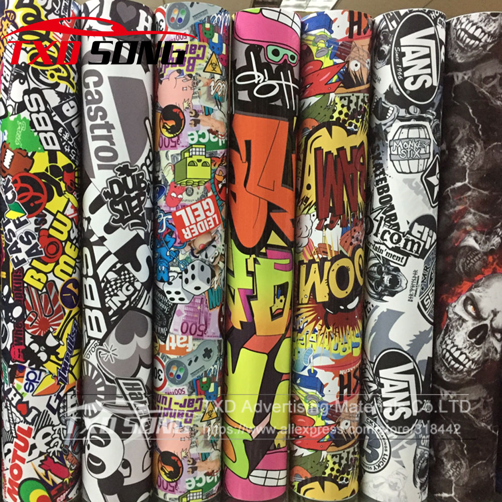 10/20/30/40/50/60X152CM/LOT CARTOON GRAFFITI CAR STICKER BOMB WRAP SHEET DECAL VINYL DIY CAR BOMB VINYL FILM BY FREE SHIPPING