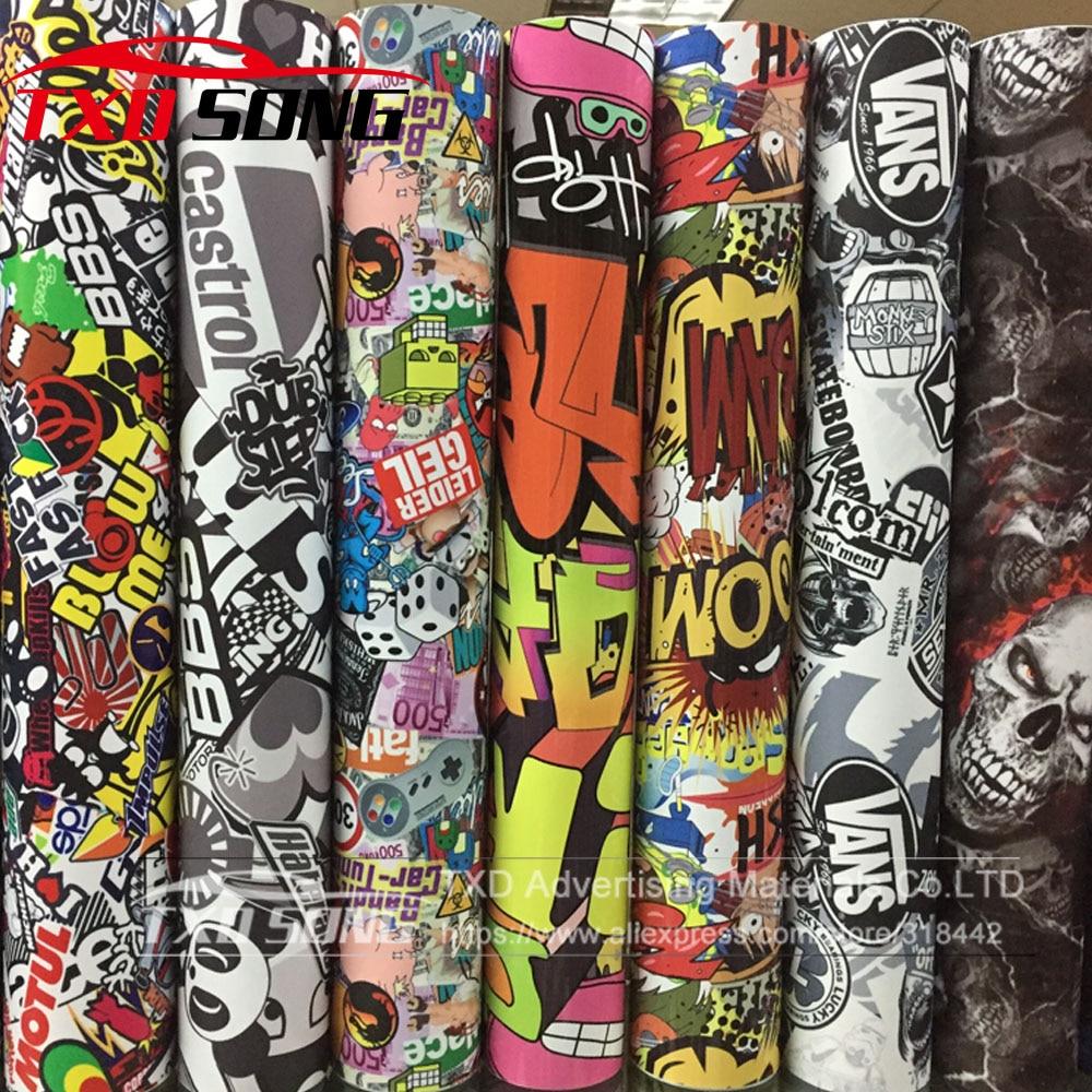 10/20/30/40/50/60X152CM/LOT CARTOON GRAFFITI CAR STICKER BOMB WRAP SHEET DECAL VINYL DIY CAR BOMB VINYL FILM BY FREE SHIPPING-in Car Stickers from Automobiles & Motorcycles