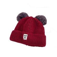 Nuevo Otoño e Invierno de los niños de doble bola sombrero salvaje gorras  de moda caliente lindo sombreros de invierno para los . d4614842db54