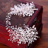 KMVEXO Strass Perlen Tiaras Braut Krone Stirnband Frauen Kopfstück Floral Hochzeit Haar Zubehör Kristall Braut Haar Schmuck