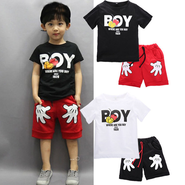 2017 New Arrival Toddler Baby Boy Cartoon Clothes Sets Short Sleeve