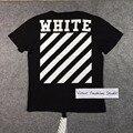 Melhor edição com costura traseira Off White China 2016 clássico Carry Over básica carta cópia da listra do algodão t-shirt tee