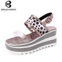 BONJOMARISA 2019 Brand New Polka Dot Ladies Wedges High Heels Platform Women Shoes Woman Casual Party Ol Summer Sandals