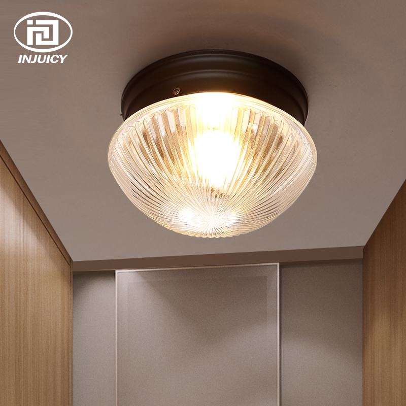 все цены на American Country Transparent Glass Ceiling Lights Street Aisle Corridor Balcony Kitchen Originality LED Ceiling Lamp онлайн