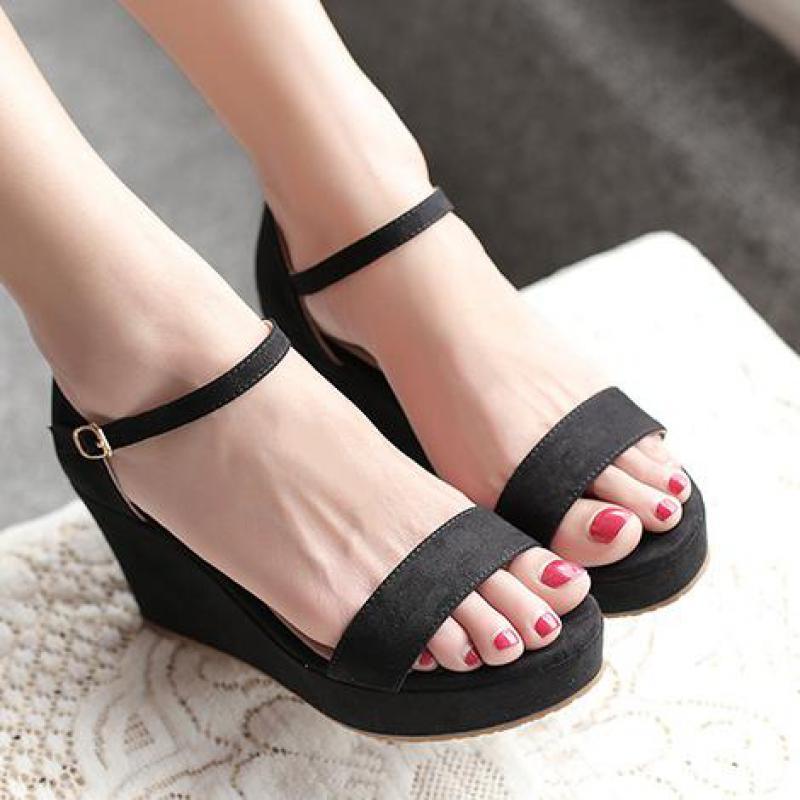 Femmes été anti-dérapant 8 cm chaussures à talons hauts bride à la cheville solide mode Rome sandales avec plate-forme