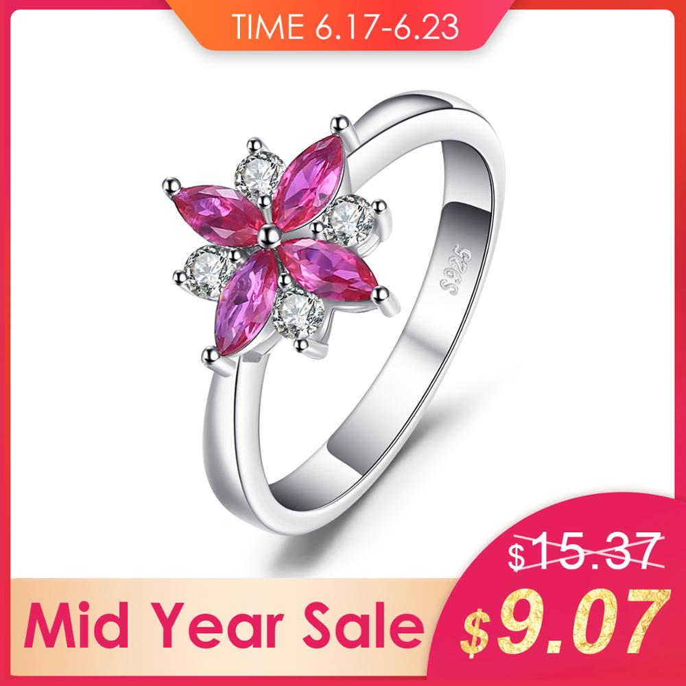 JewelryPalace  Ring For Women Flower 0.86ct Created Ruby Ring 925 Sterling Silver Party Girl Gifts Brand Fine Fashion JewelryJewelryPalace  Ring For Women Flower 0.86ct Created Ruby Ring 925 Sterling Silver Party Girl Gifts Brand Fine Fashion Jewelry