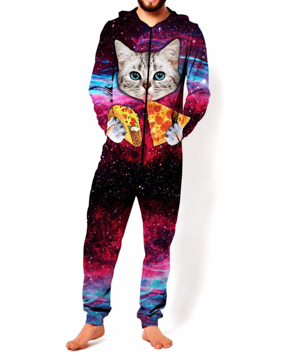 Taco Cat One piece suit Pizza Cat Jumpsuit fashion Galaxy cat with pizza one piece suit high quality Unisex jumpsuit drop ship