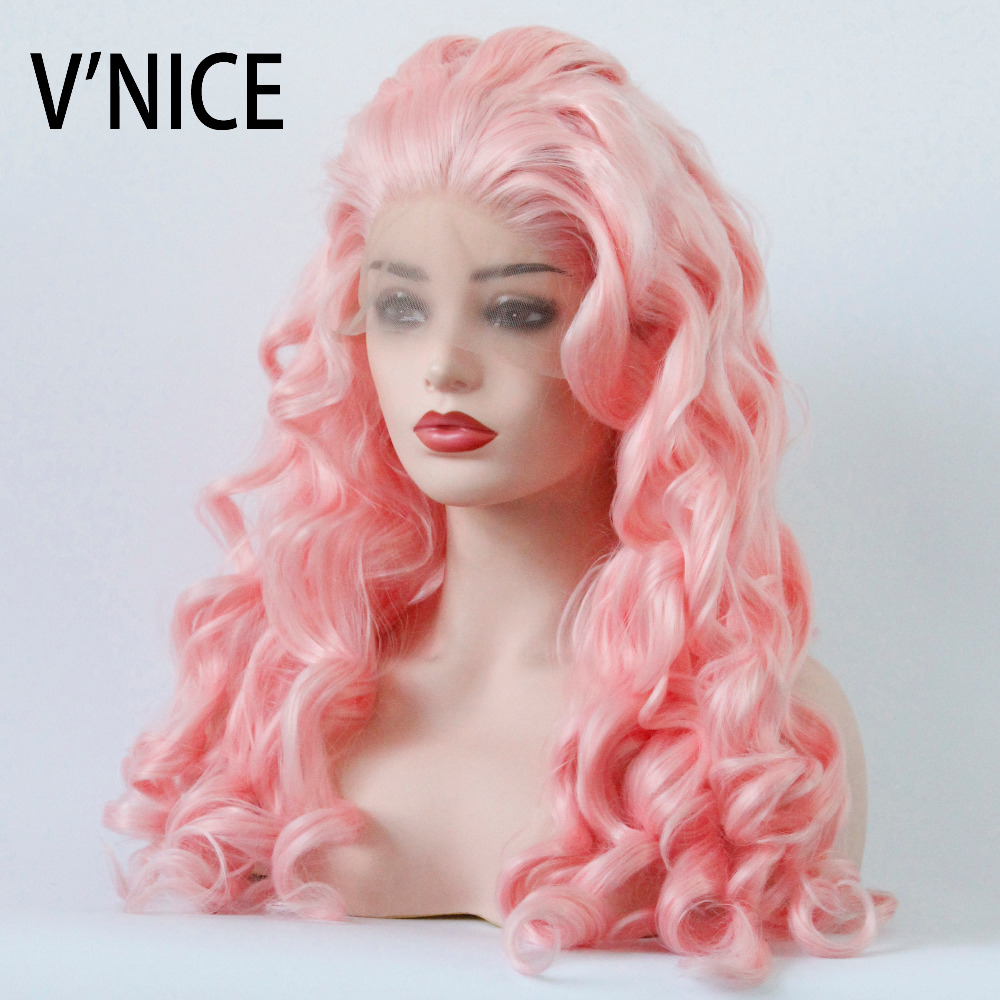 VNICE Long Loose Wave Wig Baby Pink Pre-plucked Hairline Synthetic Lace Front Wigs Heat Resistant Fiber Soft Hair For Women