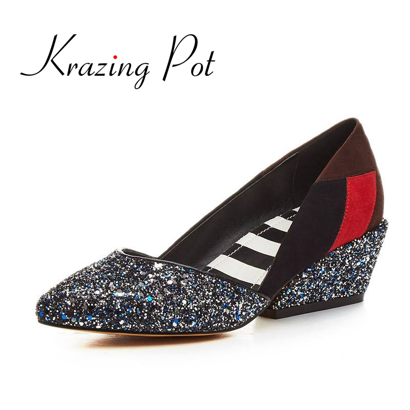 KRAZING POT New fashion brand shoes bling thick heel shallow women pumps causal wedding pointed toe party office lady shoes 20 2017 new fashion brand spring shoes large size crystal pointed toe kid suede thick heel women pumps party sweet office lady shoe