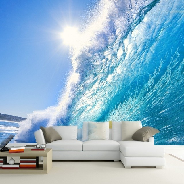 beibehang 3d creative bedroom wallpaper silk cloth blue ocean home decoration can make custom size wallpaper
