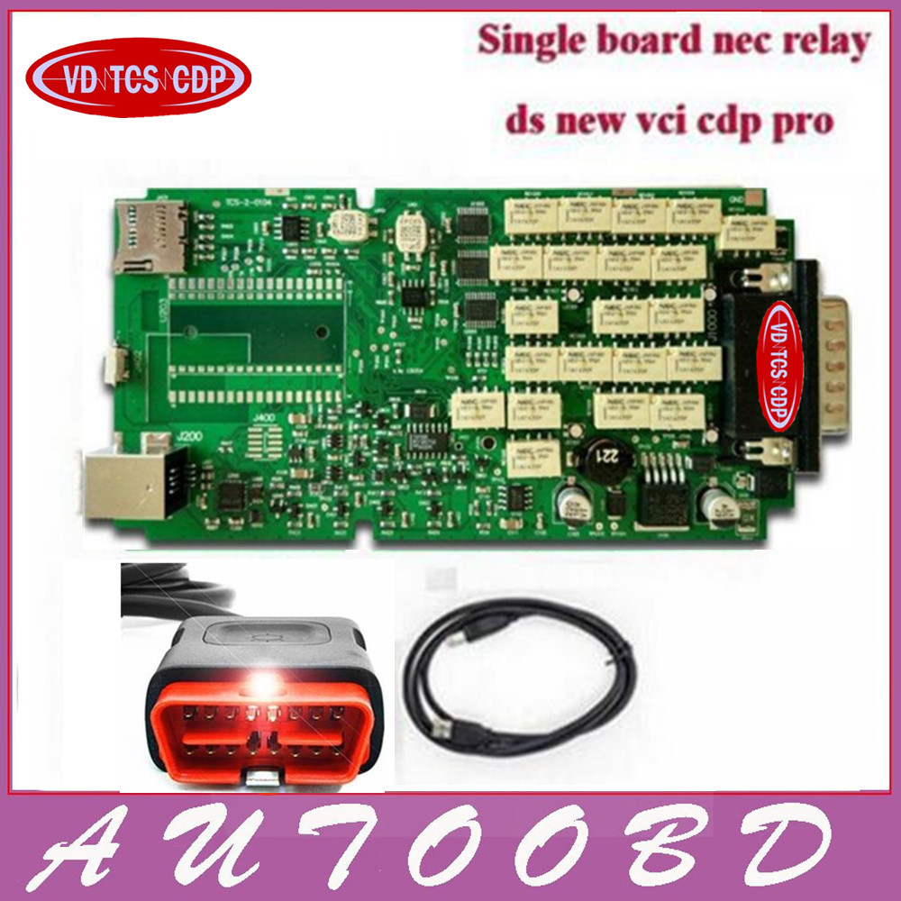 Super Best Sale Single Board VD TCS CDP PRO Without Bluetooth Green Board PCB With Japan NEC Relay Chip No BT OBD OBDII San Tool new arrival new vci cdp with best chip pcb board 3 0 version vd tcs cdp pro plus bluetooth for obd2 obdii cars and trucks