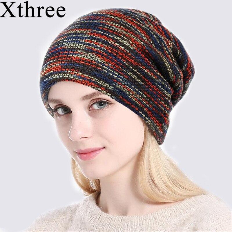 Xthree  Beanie Knitted Hat Women Autumn Winter Hats For Men Fashion Skullies Beanies Bonnet Gorros Striped Female Soft Caps Hats