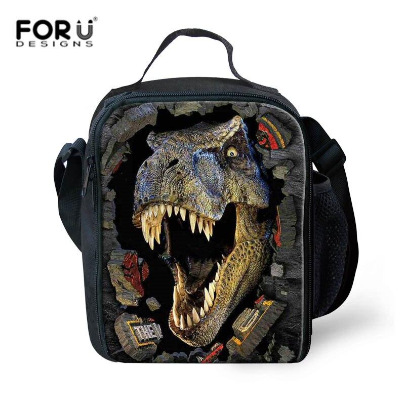 Caixa para Crianças Bolsas de Almoço Forudesigns Dinossauro Lancheira Almoço Animais Criança Isolado Térmica Designer Luxo Piquenique Bolsas Comida 3d