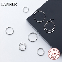 CANNER 925 Sterling Silver Hoop Earring For Women Round Simple Earrings Circle Loop boucle doreille femme 2019 R4