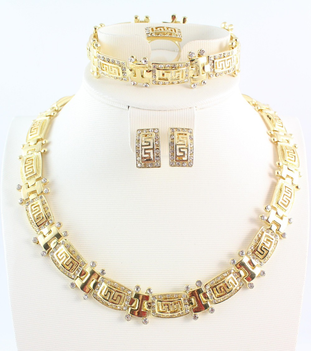 Free shipping fashion trendy rhinestone necklace earring ring and bracelet african gold plated jewellry set for