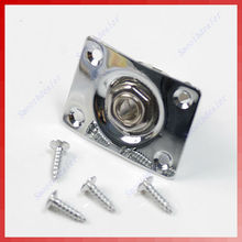 M112-Hot Sell 5sets/lot Chrome Rectangle Output Guitar Jack Plate Socket New